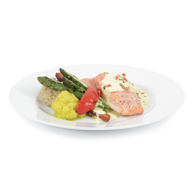 Salmon with saffron sauce