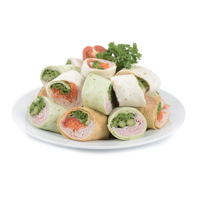 Tray of mini sandwiches rolled on tortillas bread (Wraps)