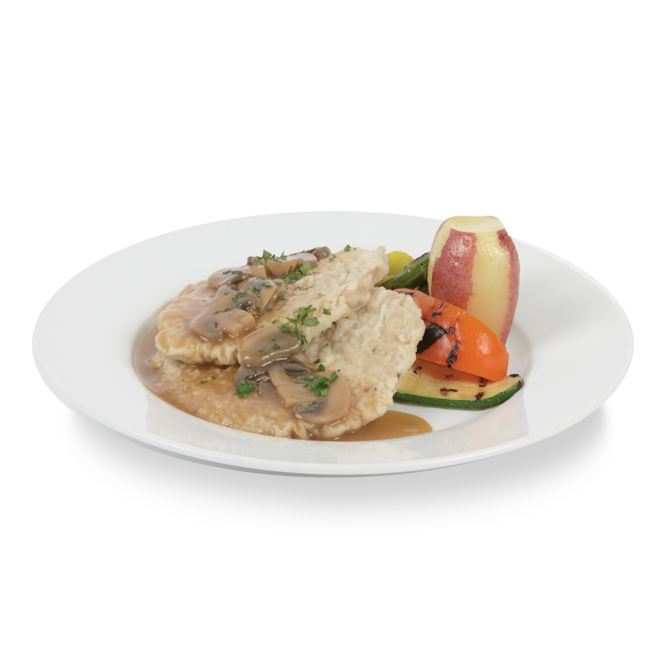 Veal cutlet demi-glace sauce with marsala wine