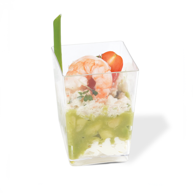 Shrimp and avocado verrine